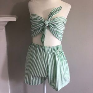 Green and white striped set!
